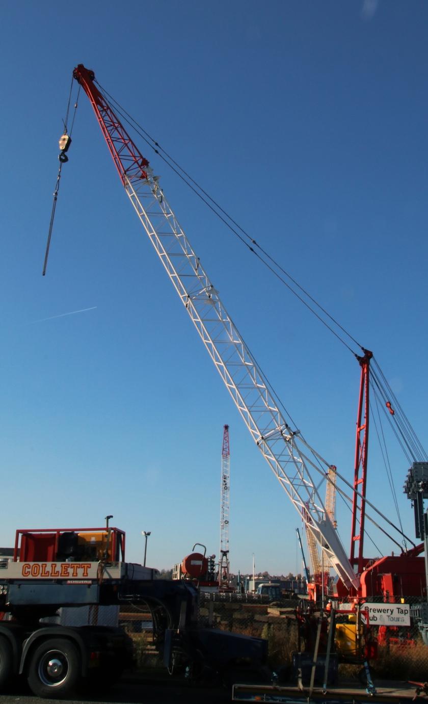 crane and contrail